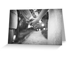 Groom holding hands with bride black and white wedding photograph Greeting Card