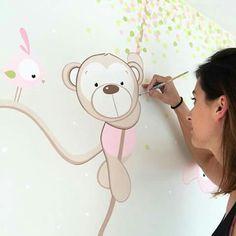 Baby Room Paintings, Baby Painting, Mural Art, Wall Murals, Wall Art, Baby Nursery Art, Baby Clip Art, Diy Clock, Cute Images