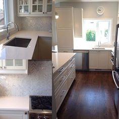 Our latest project. White kitchen with chevron marble backsplash #chevrontile #marbletile #whitekitchen #bodbyn #stephaniefortierdesign