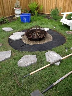 Fire pit circle with stepping stone path backyard ideas for Step by step fire pit