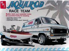Model Cars Kits, Kit Cars, Vintage Models, Old Models, Car Kits, Ski Boats, Hobby Kits, Chevy Van, Boat Trailer