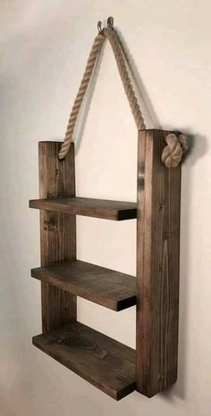 Rustic Ladder Shelf- Rustic Wood and Rope Ladder Shelf, Bathroom Organizer, Entryway Shelf