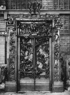 La Porte de l'Enfer (The Gates of Hell) by Auguste Rodin. Auguste Rodin, Gates Of Hell, Door Knockers, Door Knobs, Urban, Old Doors, Fantasy, Stairways, Occult