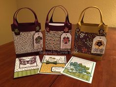 Totes to give card sets, made using SAB 16 Wildflower Fields DSP, so cute! by Connie Tumm