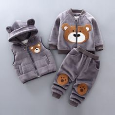 Boys Girls Winter Clothes Children Clothing Sets Kids Sport Suit Cartoon Bear Clothes Girls Clothing Set Kids Tracksuit – Erhiem Fashion Store – join in the world of pin Winter Outfits For Girls, Toddler Boy Outfits, Kids Outfits, Baby Outfits, Winter Clothes For Kids, Pull Bebe, Hooded Vest, Cute Baby Clothes, Babies Clothes