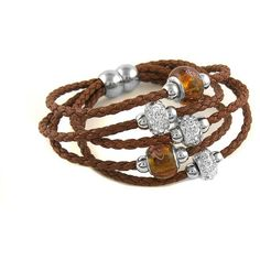 5-Tier Genuine Leather Crystal & Murano Bead Bracelet ($8.99) ❤ liked on Polyvore featuring jewelry, bracelets, brown, jewelry & watches, crystal jewelry, bead jewellery, unisex jewelry, brown jewelry and leather bangles