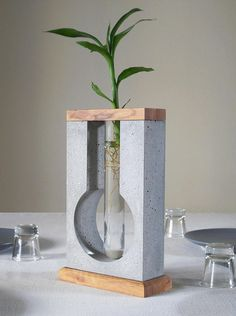 Table concrete vase for minimal flower concrete sculpture