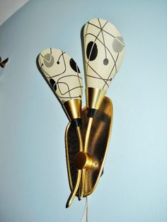 GOOGIE ATOMIC boomerang electric wall SCONCE Mid Century Modern Eames era German made 1950s