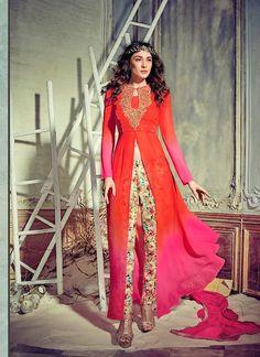Achkan Style Incredible Salwar Kameez in Orange & Georgette Fabric