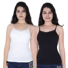 cdf4cbc7ffe8e1 Letizia Inbuilt Padded Lace Camisole Pack of 2 (White and Black)   Amazon.in  Clothing   Accessories