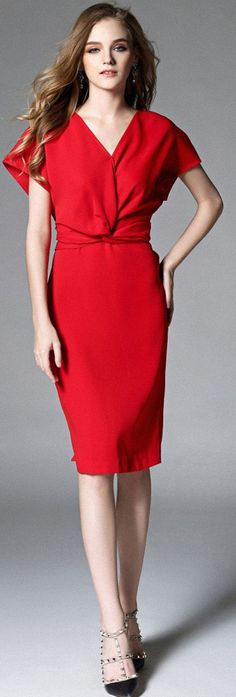 Warm Red V Neck Batwing Sleeves Dress