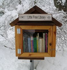 "Sponsor a ""little free library"" or build your own. I love this. I think the park in our neighborhood needs one. Wonder who I would need to contact to see about putting one in. hmmm..."