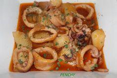 Cazuela de calamares con patatas en salsa