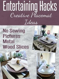Entertaining Kitchen Hacks placemat ideas for a modern and creative tablescape to entertain family Country Cottage Interiors, Country Decor, Placemat Ideas, Farmhouse Table Decor, Christmas Tablescapes, Wood Slices, Porch Decorating, Kitchen Hacks, Home Improvement Projects