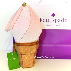 KATE SPADE New York Flavor Of The Month Pink Ice Cream Wristlet Bag NWT #KateSpade #ClutchEveningbagwristlet