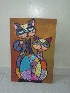 Gatos puntillismo. Elaborado por Sandra Patricia Cañon