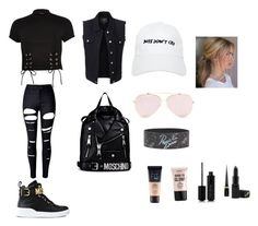 """""""Black"""" by brendonurielife on Polyvore featuring River Island, LE3NO, WithChic, Moschino, Nasaseasons, Maybelline, NYX, Marc Jacobs, Christian Louboutin and Barry M"""