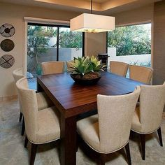 Another space-saving alternative is to buy rounded table. They can provide versatile sitting as it does not have restricting corners. Dinner Room, Dining Lighting, Dining Room Inspiration, Dining Room Design, Living Room Decor, Home Fashion, House Design, House Styles, Home Decor