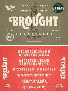 a Brought Typeface is vintage Display Font. Can make it easier to convey the message in your design. Typography Alphabet, Typography Layout, Typography Poster, Herb Lubalin, Jessica Hische, Best Script Fonts, New Fonts, Retro Graphic Design, Vintage Fonts