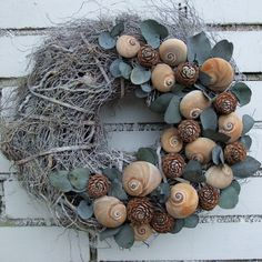 wreath with snail shells Crafts For Girls, Diy And Crafts, Arts And Crafts, Seashell Wreath, Seashell Crafts, Diy Wreath, Grapevine Wreath, Fall Wreaths, Christmas Wreaths
