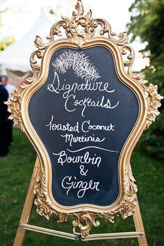 Signature cocktail board - Decadent, stylish and glamorous wedding inspiration, glitz and glamour, winter wedding Smith My Wedding Chalkboard Wedding, Wedding Signage, Wedding Reception, Chalkboard Mirror, Chalkboard Paint, Chalk Paint, Wedding Chalkboards, Menu Chalkboard, Reception Food