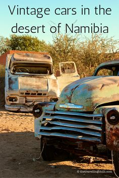 Vintage cars in the desert of Namibia in Africa
