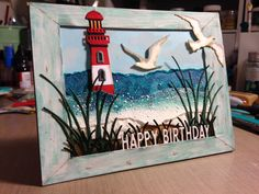 Lighthouse beach framed birthday: Impression Obsession, Taylored Expressions and Cottage Cutz dies
