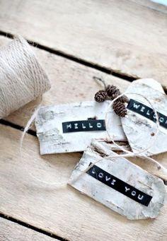 dymo label tags on silver birch bark!