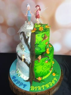 winter and summer fairy birthday cake. Tinkerbell and Periwinkle