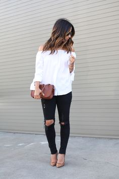 Zara off the shoulder top & black distressed denim
