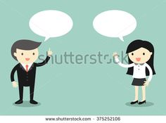 Business concept, Boss talking with business woman. Vector illustration.