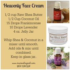 Heavenly Face Cream made with Young Living Essential Oils www.marniekrajice… Heavenly Face Cream made with Young Living Essential Oils www. Essential Oils For Face, Essential Oil Uses, Doterra Essential Oils, Young Living Essential Oils, Diy Lotion, Young Living Oils, Peeling, Tips Belleza, Beauty Recipe
