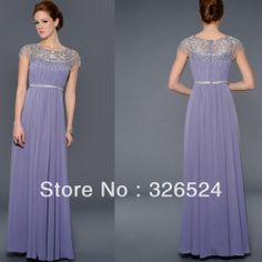2013-Wholeslae scoop beaded neck cap sleeves purple chiffon prom dress Evening dress 2013 new arrival LA 21780