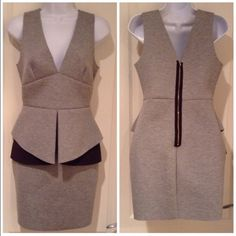 """Grey peplum dress Never worn! This is such a sexy yet classy little dress. The fabric is a little thick and sucks everything in, giving a great shape! It's about 33.5"""" in length. Dresses Mini"""