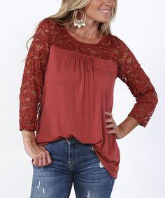 Rust Lace-Panel Tunic