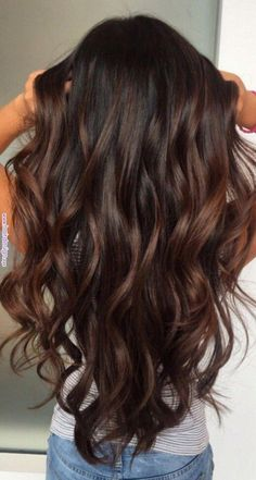 Best hair color for yellow skin asian, Best balayage color for dark hair. Brown Hair Balayage, Hair Color Balayage, Hair Highlights, Haircolor, Brunette Hair Colour, Long Brunette, Bayalage, Color Highlights, Ombre Hair