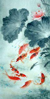 Chinese Koi Fish Painting,66cm x 136cm,2614014-x