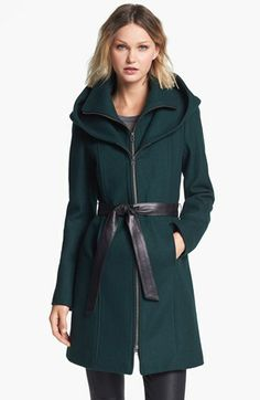 Soia & Kyo Hooded Wool Blend Coat with Leather Belt available at #Nordstrom