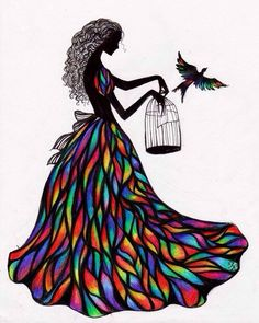 Silhouette of Girl in stained glass dress with birdcage bird art ...