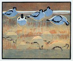 Robert Greenhalf (1950-): Avocet Reflections, woodcut
