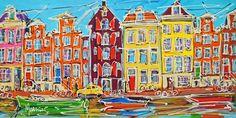 Nu in de #Catawiki veilingen: Mathias - Canal of Amsterdam, boats and yellow Citroen