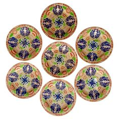 Seven Wegwood Chrysanthemum Dessert Plates | From a unique collection of antique and modern dinner plates at https://www.1stdibs.com/furniture/dining-entertaining/dinner-plates/