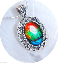 "Ammolite pendant.18x13mm.Bright Flash TRI Color Solid 925 Sterling 18"" SS Chain 