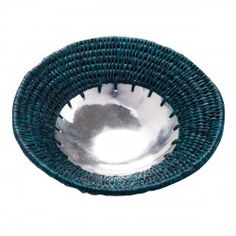 Small Aluminium and woven grass bowl- teal