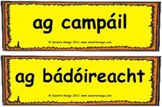 Briathra sa Samhradh : Summer Verbs  Camping -  Sailing Irish Language, Teaching Resources, School Stuff, Sailing, Ireland, Posters, Activities, Summer, School Supplies