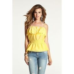 GUESS Sleeveless Strappy Embroidered Eyelet Top Sunny Day $28 SHIPS FREE FROM BEACH HIPPIE BOUTIQUE