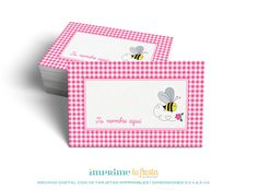 Printable BUSINESS CARDS | Lovely designs for Kids |Bee Design | Prints as many times you want | 8 Completely CUSTOMIZED cards for you!