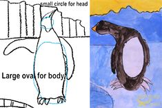 Tekenboek: How to draw and paint a penguin. Art project for first and second grade