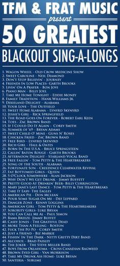 50 greatest blackout sing-a-longs