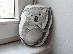 Koala Plush Mini Pillow Decor  Handpaint Soft by ShebboDesign, $35.00